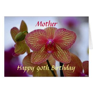 Orquídea rayada del 90.o cumpleaños feliz de la ma felicitación