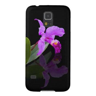 Orquídea reflejada en negro funda para galaxy s5