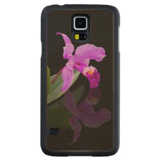 Orquídea reflejada en negro funda de galaxy s5 slim arce