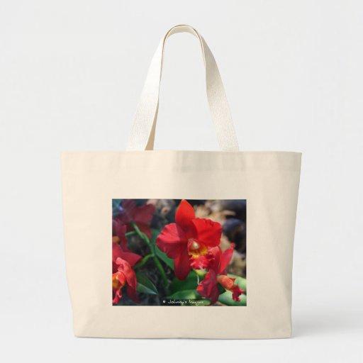orquídea roja bolsa de mano