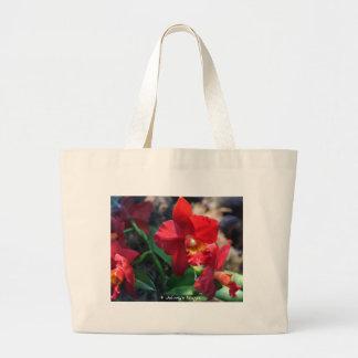 orquídea roja bolsas de mano