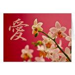 Orquídea roja • Tarjeta de felicitación del amor d