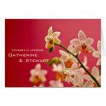 Orquídea roja • Tarjeta de la enhorabuena del boda