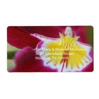 Orquídea roja y amarilla etiqueta de envío