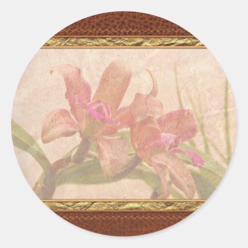 Orquídea - rosa cosquilleado pegatina redonda