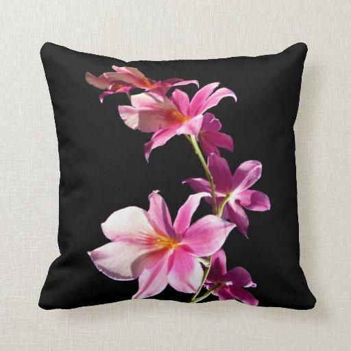 Orquídea rosada cojín decorativo