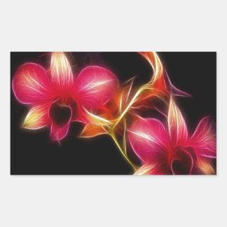 Orquídea rosada de Fractalius Pegatina Rectangular