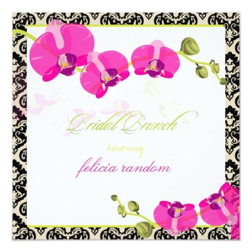 "Orquídea rosada de PixDezines+damasco de Invitación 5.25"" X 5.25"""
