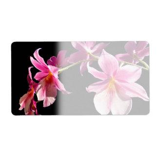 Orquídea rosada etiqueta de envío
