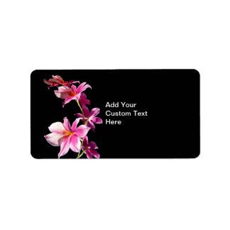 Orquídea rosada etiquetas de dirección