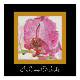 Orquídea rosada gigante con el texto adaptable póster