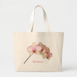 Orquídea rosada hermosa tropical de la dama de bolsa tela grande