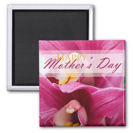 Orquídea rosada para el día de madres imán de nevera