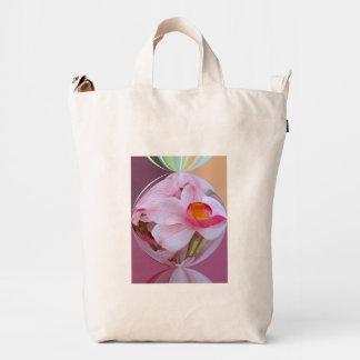 Orquídea rosada suave resumida bolsa de lona duck