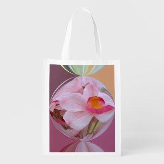Orquídea rosada suave resumida bolsa para la compra