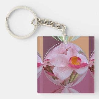 Orquídea rosada suave resumida llavero cuadrado acrílico a doble cara