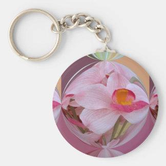 Orquídea rosada suave resumida llavero redondo tipo pin