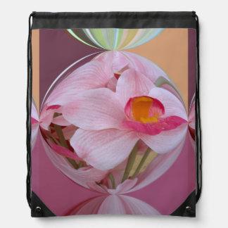 Orquídea rosada suave resumida mochilas
