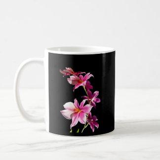 Orquídea rosada taza básica blanca