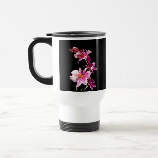 Orquídea rosada taza de viaje de acero inoxidable