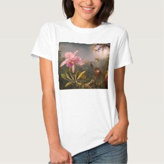 Orquídea rosada y camiseta de tres colibríes playeras