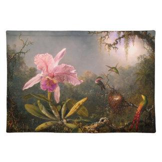 Orquídea rosada y tres colibríes Placemat Mantel