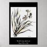 Orquídea salvaje con oro poster