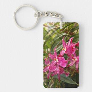 Orquídea - una sorpresa agradable llavero rectangular acrílico a doble cara
