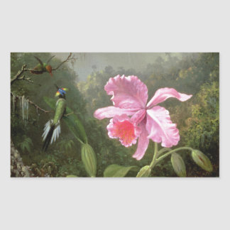 Orquídea y colibríes de Martin Johnson Heade Rectangular Altavoces