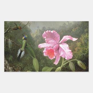 Orquídea y colibríes de Martin Johnson Heade Pegatina Rectangular