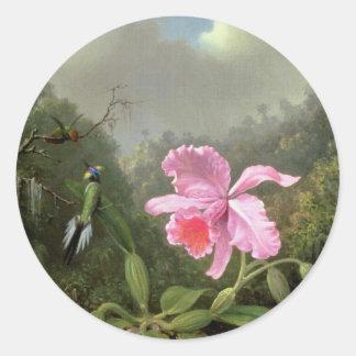 Orquídea y colibríes de Martin Johnson Heade Pegatina Redonda