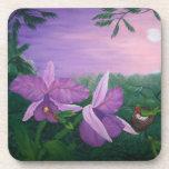 Orquídea y colibríes - pintura de acrílico posavasos