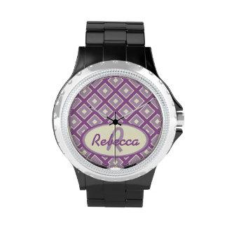 Orquídea y modelo elegante de color de malva del d relojes de pulsera