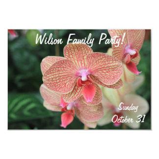 """Orquídeas anaranjadas invitación 3.5"""" x 5"""""""