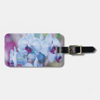 Orquídeas azules etiqueta de maleta