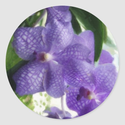 Orquídeas azules Painterly Pegatina Redonda