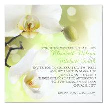 """Orquídeas blancas de la primavera delicada que invitación 5.25"""" x 5.25"""""""