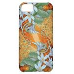 orquídeas blancas del caso del iPhone en fondo del