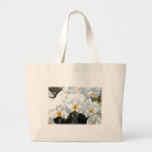 Orquídeas blancas del Phalaenopsis que brillan int Bolsa Tela Grande