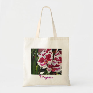 Orquídeas blancas del racimo y púrpuras aterciopel bolsas de mano
