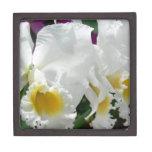 Orquídeas blancas hermosas en el joyero de cajas de regalo de calidad