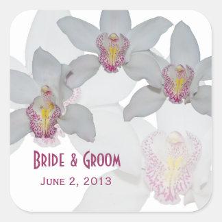 Orquídeas blancas que casan a los pegatinas pegatina cuadrada
