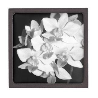 Orquídeas blancos y negros caja de recuerdo de calidad