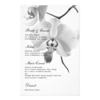 Orquídeas blancos y negros que casan el menú papelería personalizada