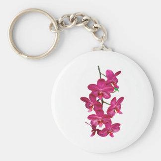 Orquídeas de la magenta de la cascada llavero redondo tipo pin