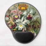 Orquídeas de la selva tropical del vintage, flores alfombrilla de ratón con gel