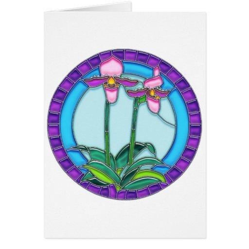 Orquídeas de señora deslizador en vitral circular tarjeton