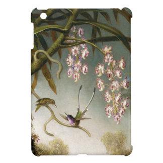 Orquídeas del aerosol con caso del iPad del colibr