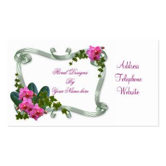 Orquídeas e hiedra de la tarjeta de visita de los