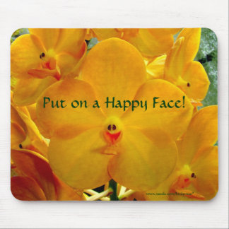 Orquídeas felices del amarillo de la cara tapete de ratones